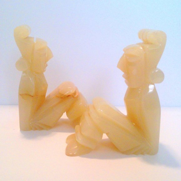 Vtg Carved Mexican Onyx Stone Bookends Tribal